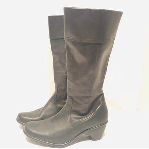 Dansko Black Leather Boots Heels 41 10.5-11